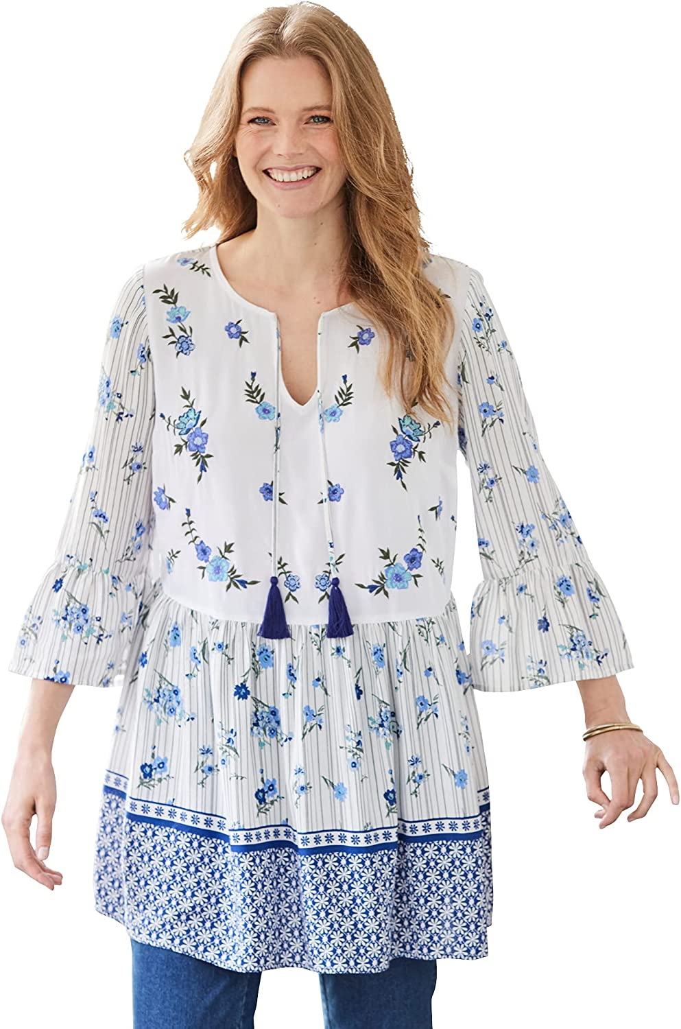 Woman Within Women's Plus Size Bell Sleeve Embroidered Blouse
