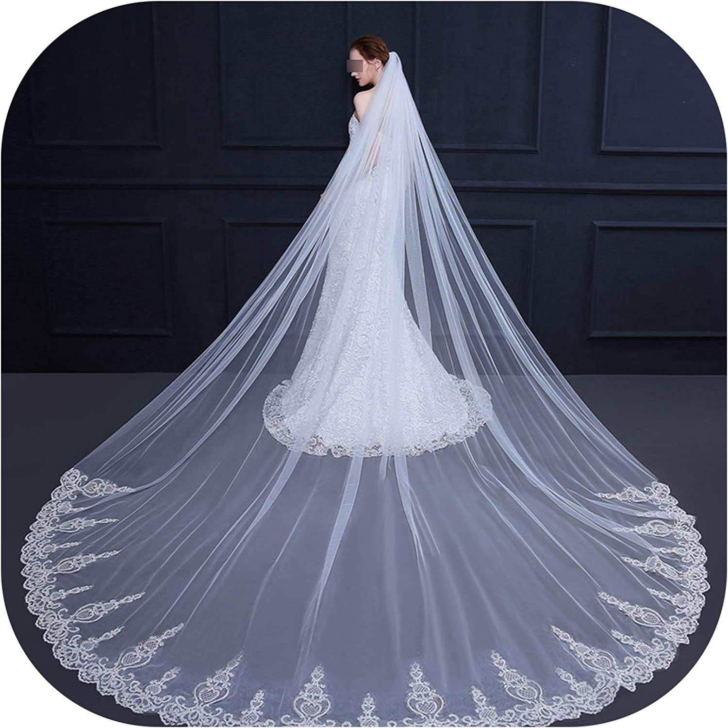 3.5 Meter White Ivory Cathedral Wedding Veils Long Lace Edge Bridal Veil with Comb Wedding Accessories Bride Veu Wedding Veil,Ivory