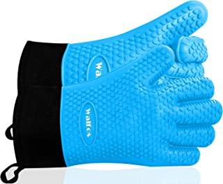 Walfos Grilling Gloves - Heat Resistant Silicone Oven Mitt, Premium Non-Slip Silicone Internal Protective Cotton Layer, Waterproof, Great for Grilling, Kitchen and Cooking (Blue)
