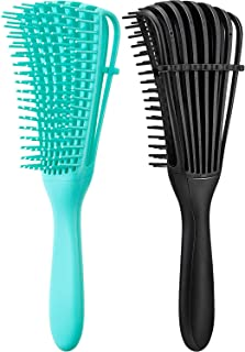2 Pieces Detangling Brush for Afro America/African Hair Textured 3a to 4c Kinky Wavy/Curly/Coily/Wet/Dry/Oil/Thick/Long Hair, Knots Detangler Easy to Clean (Black, Green)