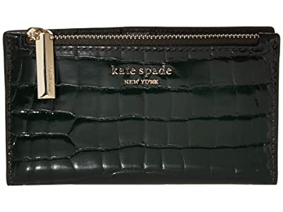Kate Spade New York Sylvia Small Slim Bifold Wallet (Deep Evergreen) Bi-fold Wallet