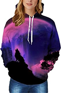 OnIn Fleece 3D Nebula/Wolf/Bear Print Galaxy Space Sweatshirt Drawstring Thick Hoody Tops