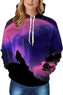 OnIn Fleece 3D Nebula/Wolf/Bear Print Galaxy Space Sweatshirt Drawstring Thick Hoody Tops