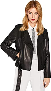 Women's Genuine Lambskin Leather Jacket Lamb Zip Up Lapel Black Short Moto Jacket Coat with Belt SmartUniverseWear
