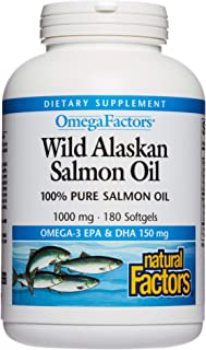 Natural Factors - Complete Omega Wild Alaskan Salmon Oil, Supports Brain Function and Heart Health while Helping to Maintain Already Healthy Cholesterol Levels with Omega-3 EPA and DHA, 180 Softgels