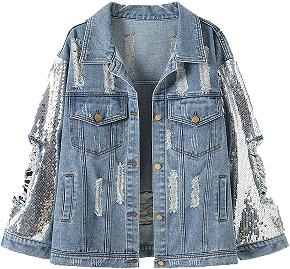 Ankecity Oversize Sequins Women's Ripped Distressed Casual Long Sleeve Denim Jacket Coat