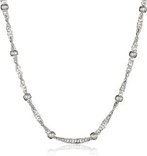 Sterling Silver Singapore Bead Chain Station Necklace
