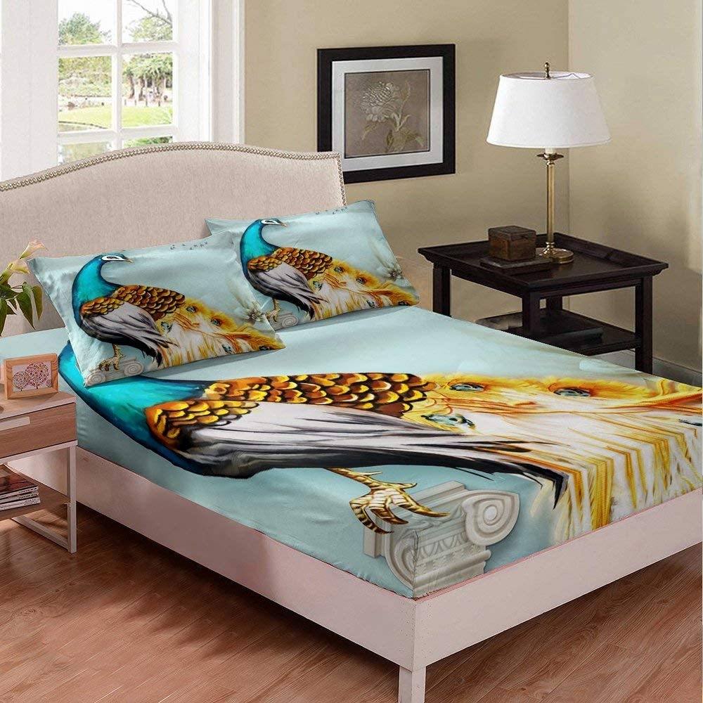 Peacock Fitted Max 71% OFF Sheet Fairy Tales Mountain Bed Al sold out. Cover Smoky River