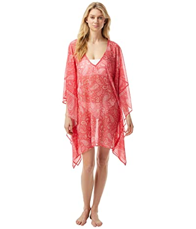 MICHAEL Michael Kors Romantic Paisley V-Neck Tunic Cover-Up (Geranium) Women