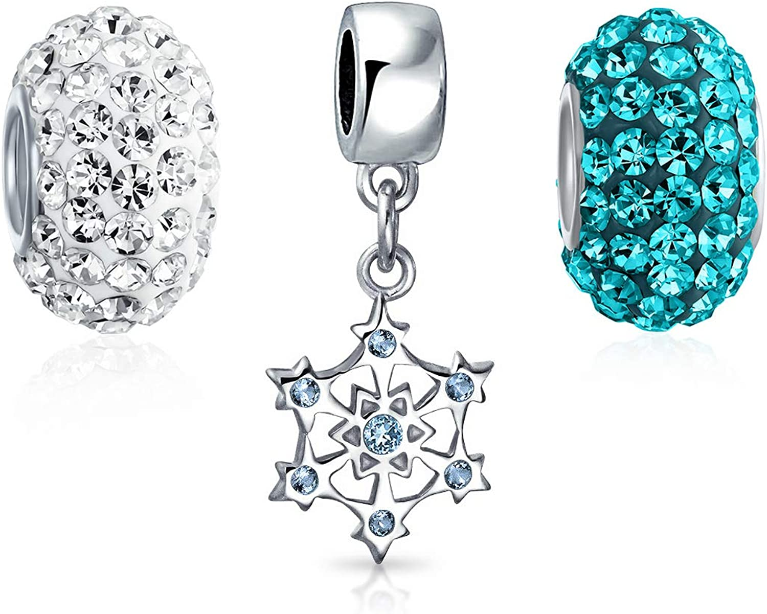 Set Of Japan's largest assortment 3 Blue Arlington Mall White Crystal Snowflake Sil 925 Christmas Sterling