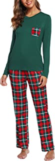 Image of Green and Red Plaid Christmas Pajamas for Women - See More Colors