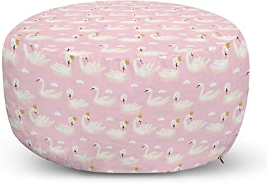 Ambesonne Swans Ottoman Pouf, Repetitive Aquatic Royalty Bird with a Crown, Decorative Soft Foot Rest with Removable Cover Li