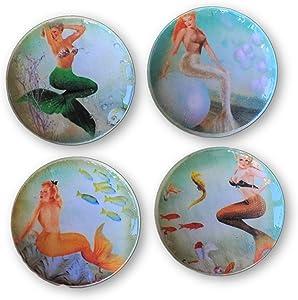 Set of 4 Mermaids of The Sea Print Wood Cabinet Knobs