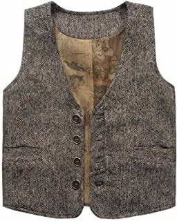 Coodebear Boys' Girls' Map Lined Pockets Buttons V Collar Vests (2-16 Years)