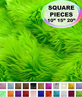 Barcelonetta | Faux Fur Squares | Shaggy Fur Fabric Cuts, Patches | Craft, Costume, Camera Floor & Decoration (Lime, 10