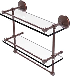 Allied Brass Monte Carlo Collection 16 Inch Gallery Double Towel Bar Glass Shelf, Antique Copper