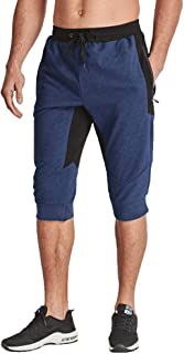 BIYLACLESEN Men's 3/4 Joggers Below Knee Running Gym Capri Pants Zipper Pockets