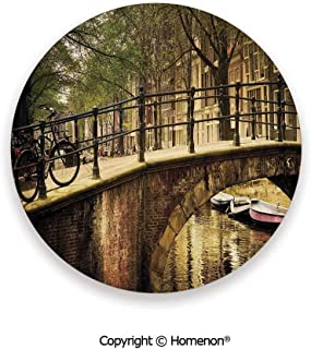 Romantic Bridge Over Canal Amsterdam Netherlands European Famous Northern City Photo,Absorbent Coaster For Drinks Cream,3.9×0.2inches(8PCS),Ceramic Coasters Set With Cork Base