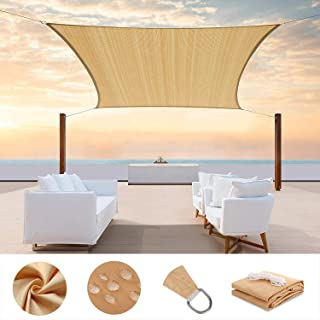 PA Sun Sail Shade Square Waterproof Outdoor UV Protection Summer Cool Party Beach Leisure Awning Canopy For Garden With 4 ...