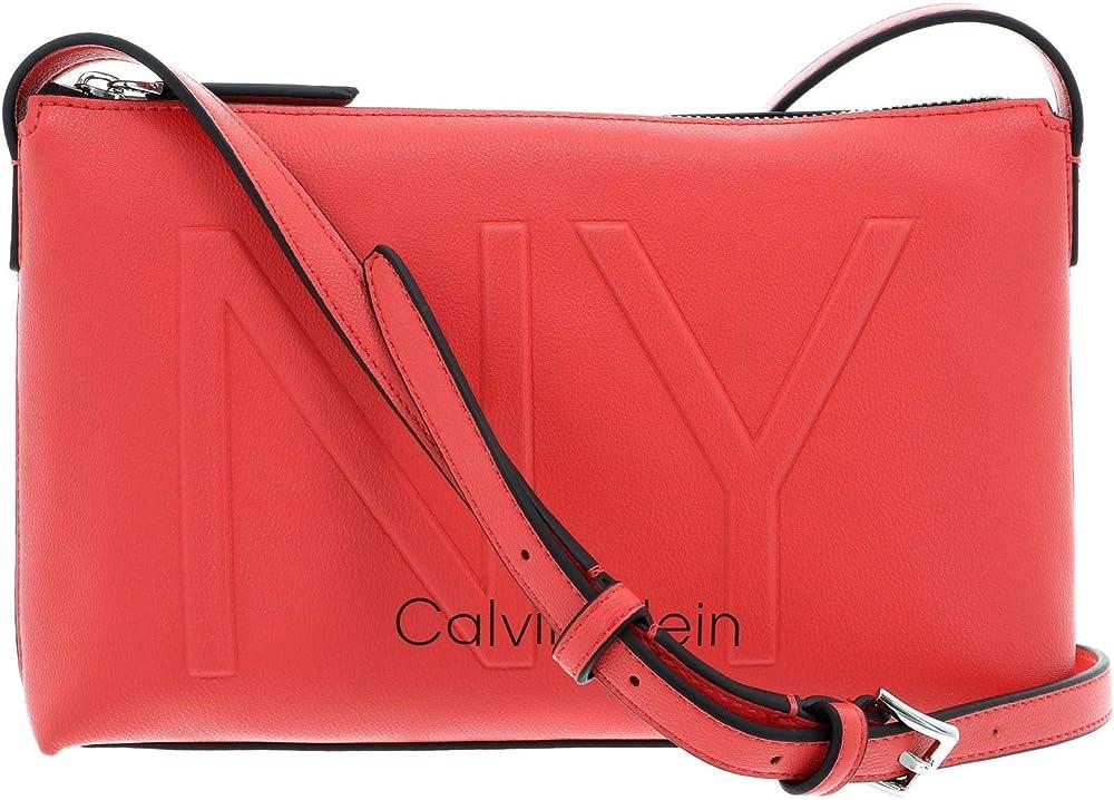 Calvin klein ny, borsa a tracolla per donna, in pelle sintetica K60K606493
