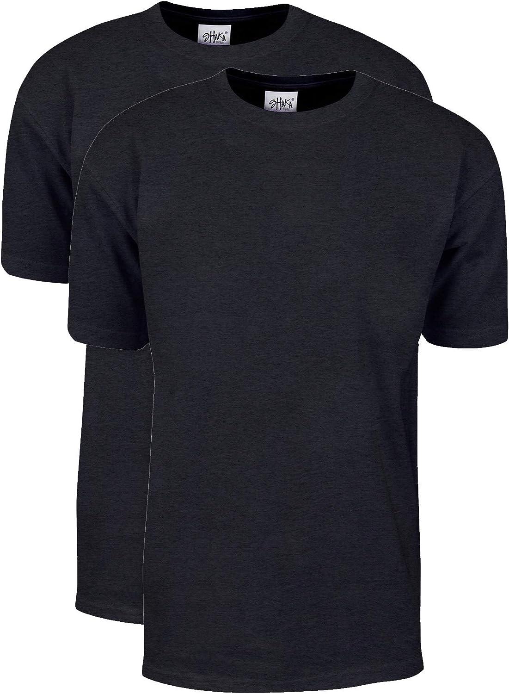Shaka Wear Men's T Shirt – 2 Pack 7 oz Max Heavyweight Cotton Short Sleeve Crewneck Tee Top Tshirts Regular Big Size S-7XL