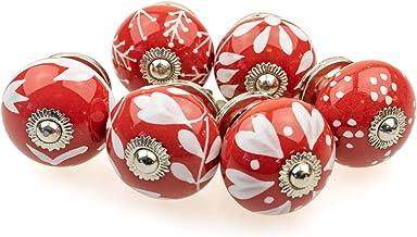 Gałka meblowa gałka meblowa zestaw 6 szt. 098GN mieszane czerwone srebro - Jay guzik ceramika porcelana ręcznie malowane g...