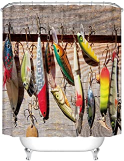 Fangkun Fish Shower Curtain - Waterproof Polyester Bait Pattern on Rustic Boards Fishing Themed Bath Curtains Decor Set - 12PCS Shower Hooks - 72 x 72 inches