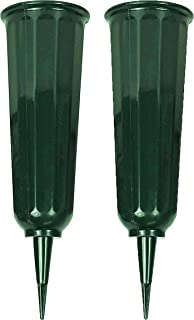 """Black Duck Brand Green 9.75"""" Plastic Cemetery Memorial Grave Flute Flower Vases; 2 Pack"""