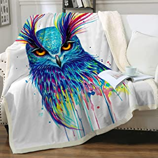 Into The Blue by Pixie Cold Art Watercolor Animals Throw Blanket Reversible Sherpa Fleece Blanket Plush Blanket for Couch Bed Sofa (Blue Owl, 50