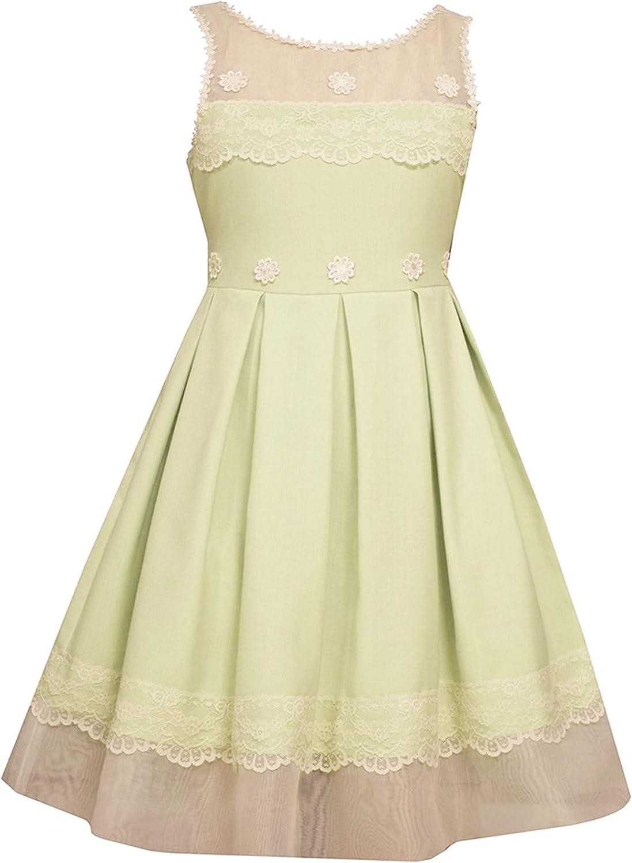 Little Girls 2T-6X Illusion Lace-n-Linen Fit Flare Social Dress