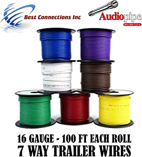 Trailer Wire Light Cable for Harness 7 Way Cord 16 Gauge - 100ft roll - 7 Rolls