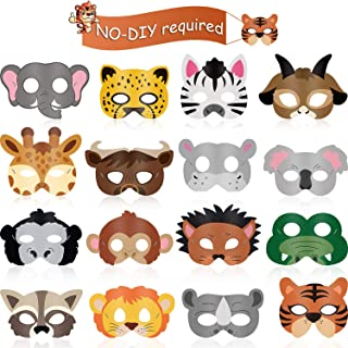 16 Piece Animal Masks Animal Costume Party Favors with 16 Different Animal Face for Petting Zoo Farmhouse Jungle Safari Th...