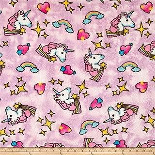Newcastle Fabrics Whisper Plush Fleece Unicorn Cool Pink Fabric By The Yard