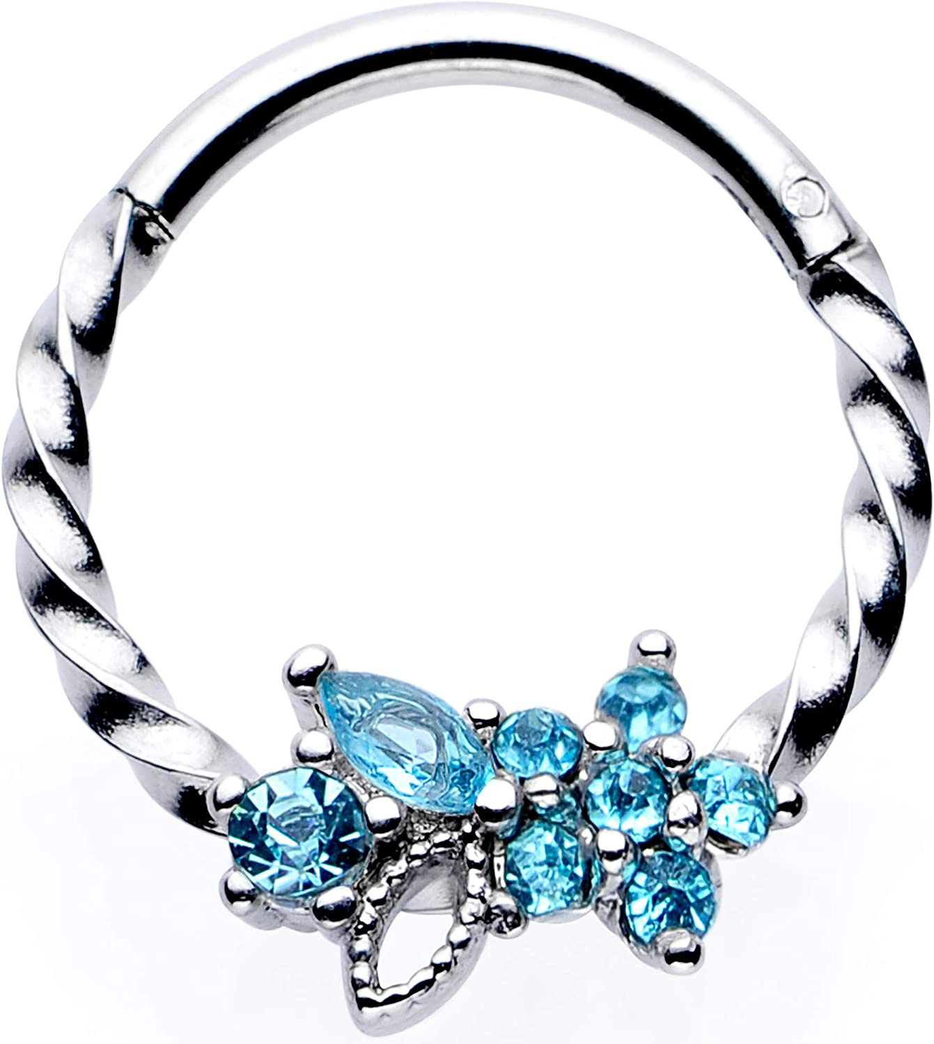 """Body Candy Womens 16G Steel Septum Blue Accent Star Daith Tragus Nose Ring Twisted Cartilage Clicker 3/8"""""""