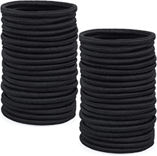 Hair Ties, Anezus 50 Pcs Black Elastics Hair Ties Small Hair Ties Bulk Hair Elastic Bands Ponytail Holder for Thin and Thick Hair (4mm)