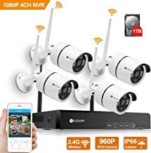 Wireless Security Camera System - Forcovr 4CH 1080P HD Home Surveillance Recorder NVR System Wifi Kit with 4PCS 960P Waterproof Night Vision Outdoor Bullet Cameras,Remote View,Motion Alerts 1TB HDD