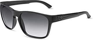 Under Armour UA Glimpse Square Sunglasses, UA Glimpse Satin Black/Black Frame/Gray Gradient Lens, M/L
