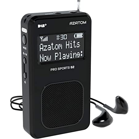 AZATOM Pro Sports S2 DAB Digital Portable FM Radio DAB DAB+ & FM - Built-in Rechargable Battery (Upto 20 Hours Playtime) - Compact - Built-in Speaker - Earphones included (S2 Black)