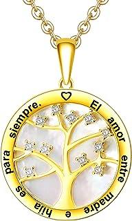 LOVORDS Collar Mujer Grabado Plata de Ley 925 Personalizado Colgante Círculo Árbol de la Vida Familiar con Nácar Regalo Ma...