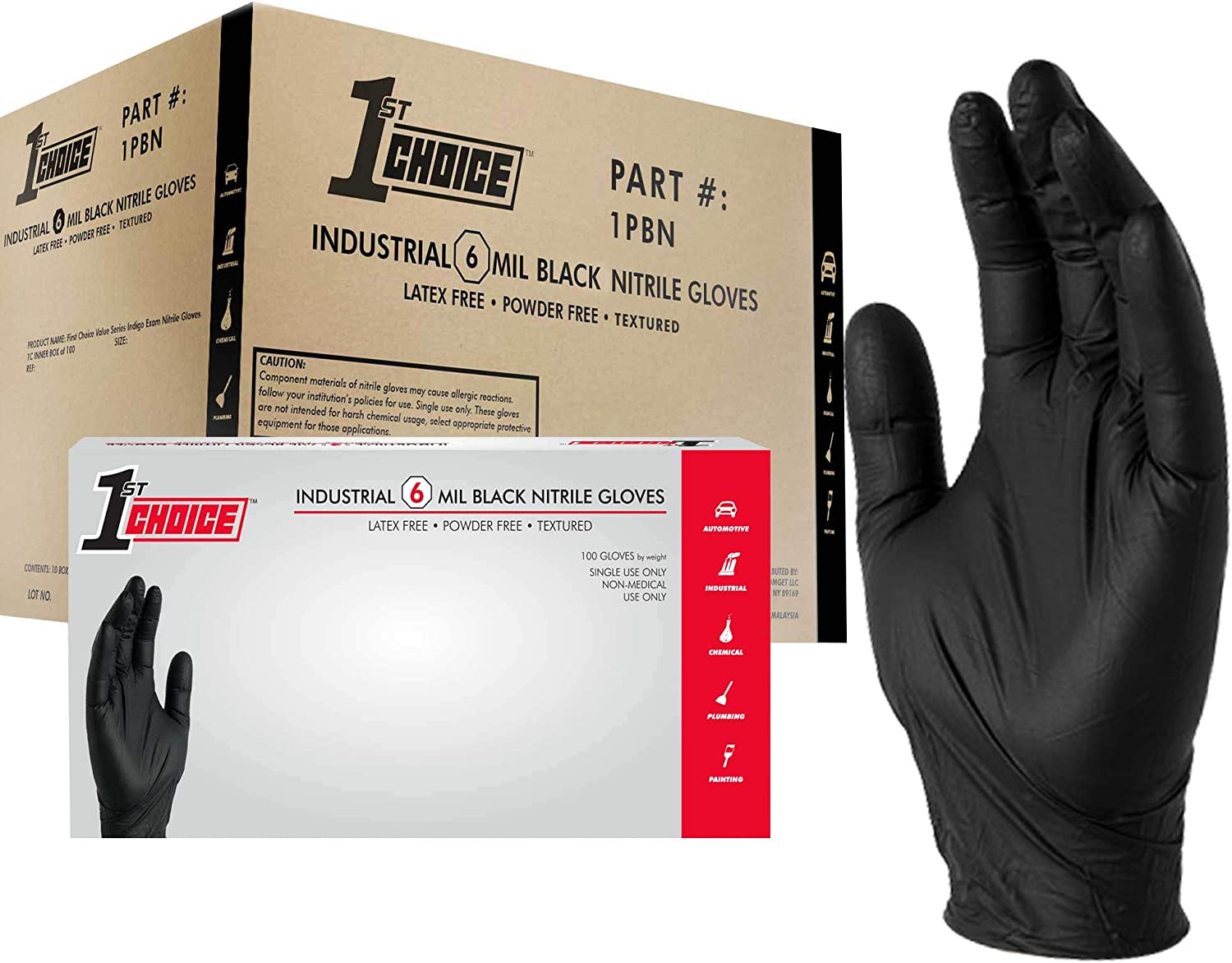 1st Choice Black Nitrile Industrial Disposable Gloves, 6 Mil, Latex & Powder-Free, Food-Safe, Textured