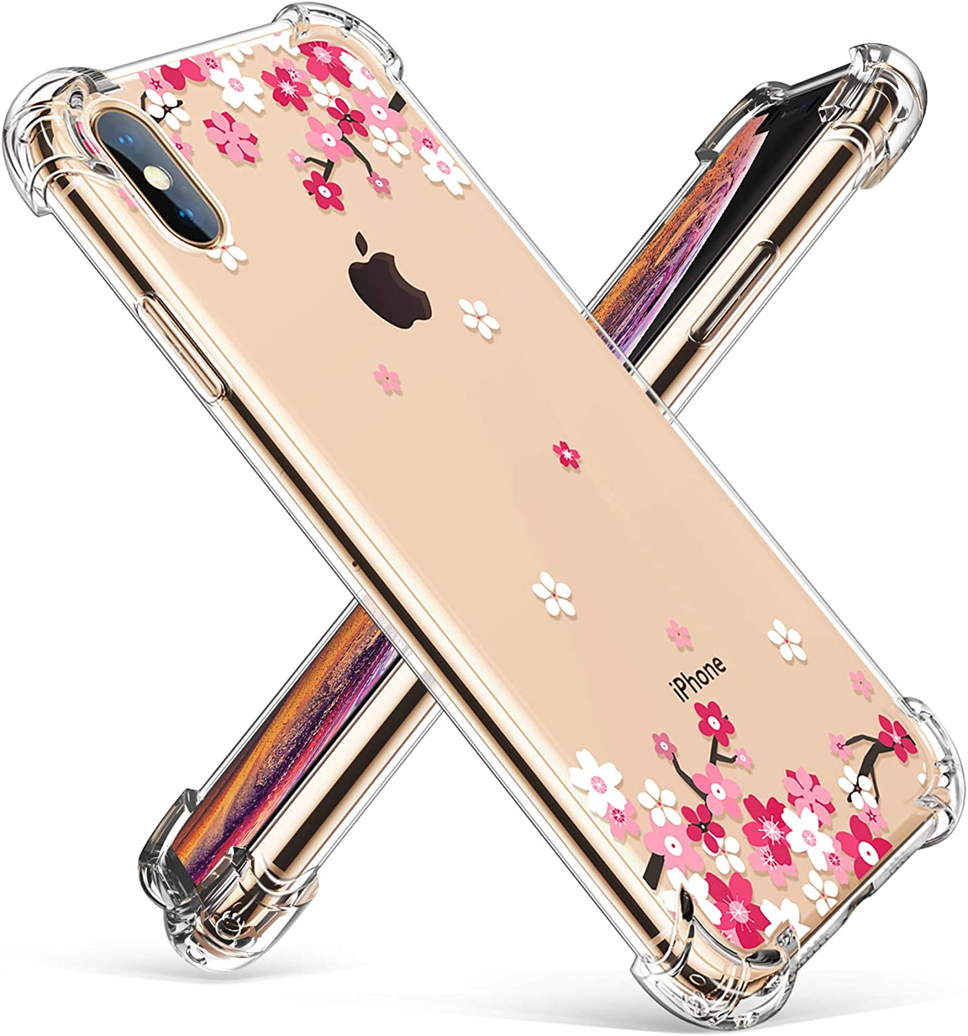 GVIEWIN Compatible with iPhone Xs/X Case, Clear Flower Pattern Design Soft & Flexible TPU Thin Shockproof Transparent Floral Cover Cases 5.8 Inch (Peach Blossom/Pink)