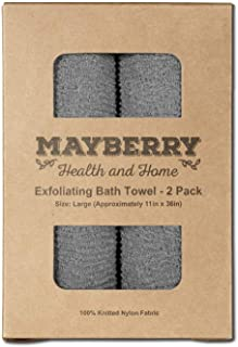 Extra Long (36 Inches) Exfoliating Bath Cloth (2 Pack) Gray Nylon Bath Towel, Stitching on All Sides for Added Durability