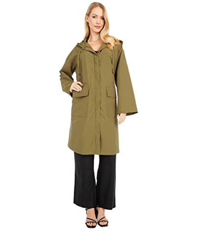 Eileen Fisher Light Organic Cotton Nylon Hooded K/L Coat (Olive) Women