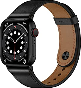 OUHENG Compatible with Apple Watch Band 44mm 42mm 40mm 38mm, Genuine Leather Bands Replacement Strap for iWatch SE Series 6 5 4 3 2 1 (Black/Black,44mm 42mm)