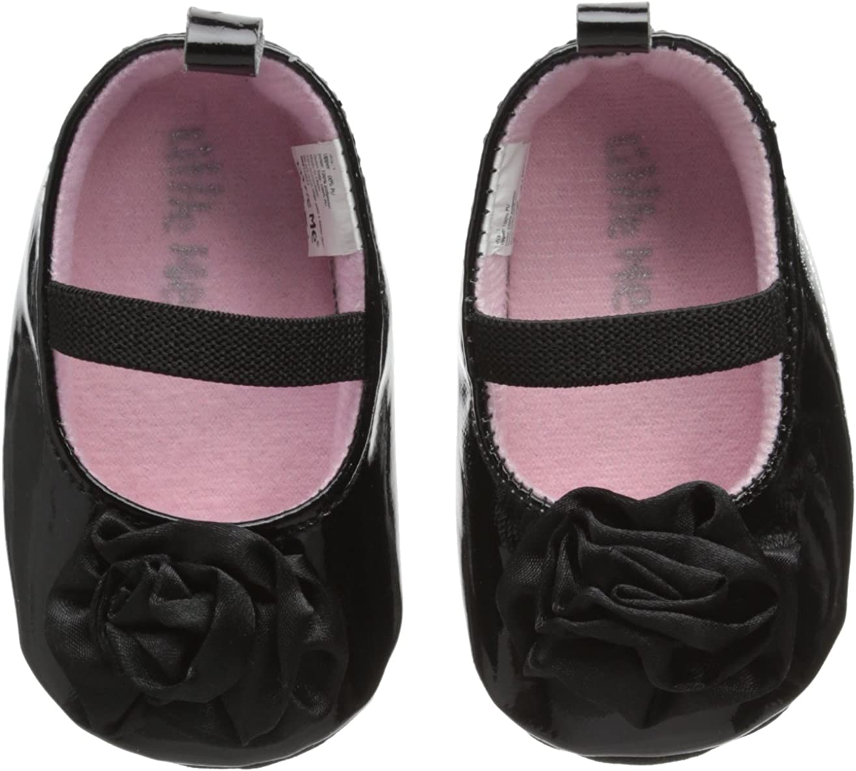 Little Me Baby-Girls Newborn Black Patent Mary Jane with Satin Flower