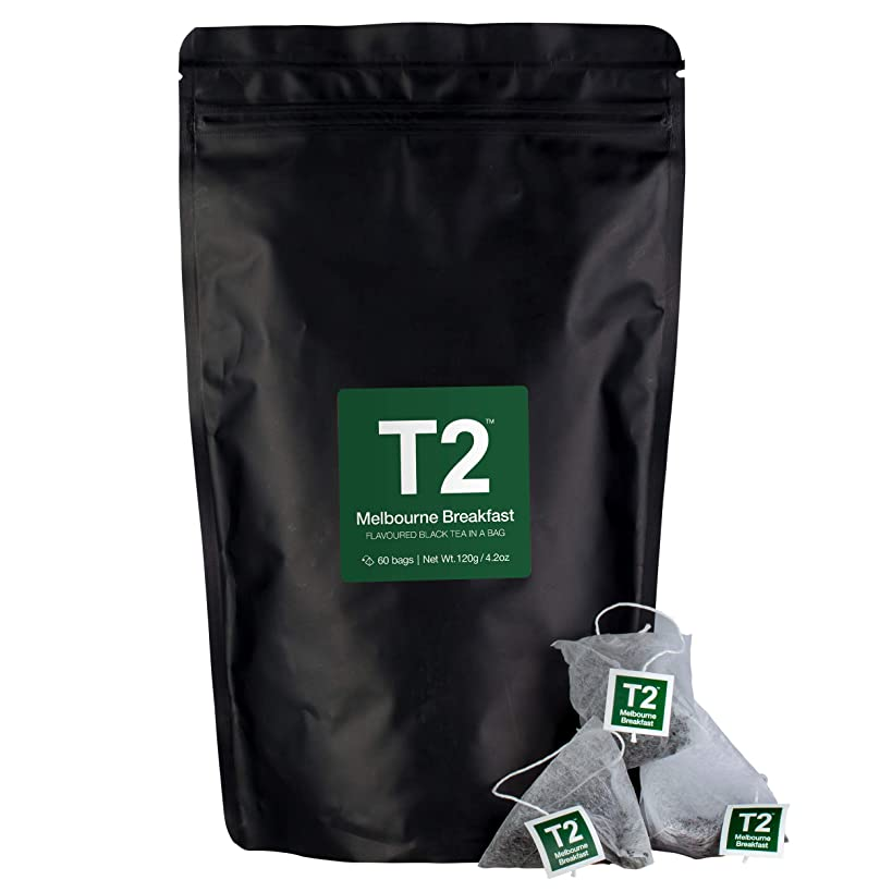 T2 Tea - Melbourne Breakfast Black Tea, Tea Bags in Resealable Bag, 120g (4.2oz), 60 Tea Bags