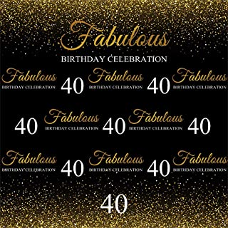 Yeele 7x7ft Fabulous 40th Birthday Photography Backdrop Forty Year Anniversary Gold Small Sequins Background Lady Mother Woman Adults Forty Years Old Photo Backdrops Pictures Studio Props