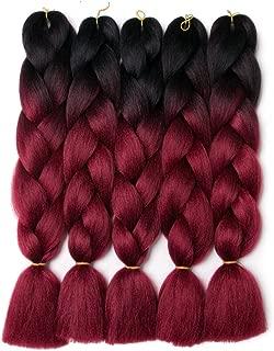 Lady Corner Ombre Braiding Hair 24inch Jumbo Braids High Temperature Fiber Synthetic Hair Extension 5pcs/Lot 100g/pc for Twist Braiding Hair (Black-Wine Red)