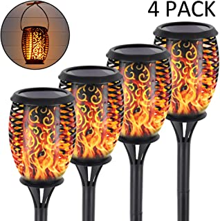SHOO-IN Solar Torch Light Outdoor, Solar Lights Upgraded,Lighting Dusk to Dawn Auto On/Off,Black,4 Pack