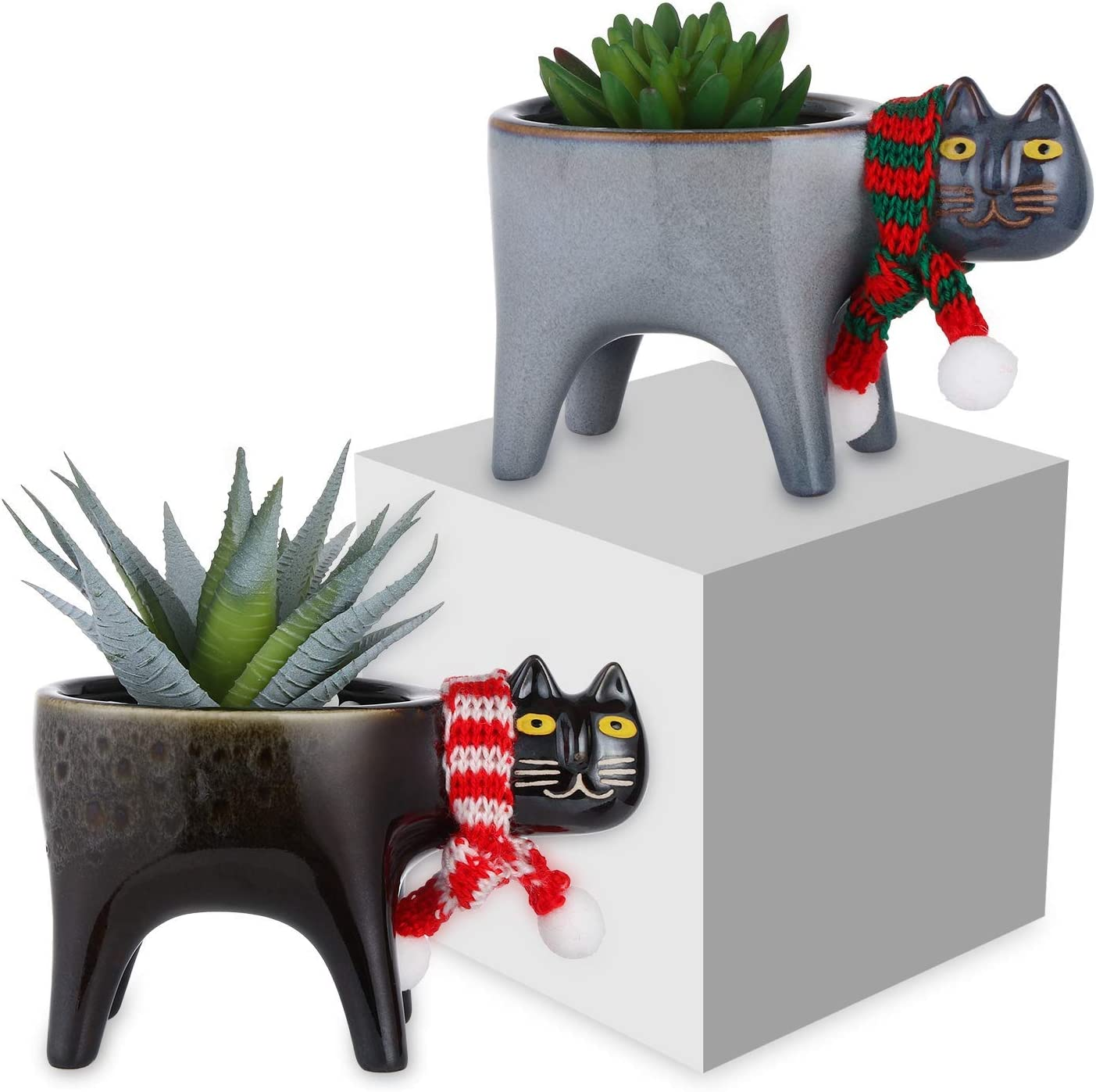 Ovida 2 Pack Popular brand 5.9 Inch Cat Planters Succulent Animal Succ Planter Recommended